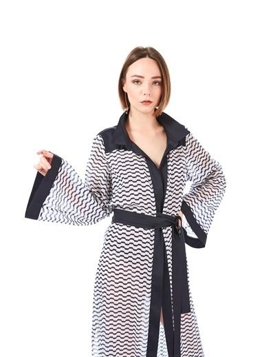 Women&Women Pamuklu Marin Kimono Elbise Lacivert